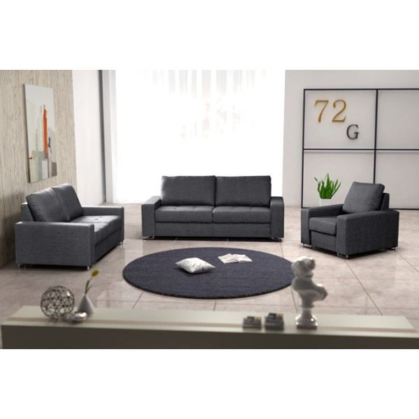 ensemble de 2 canap s fauteuil coffee gris achat vente salon complet 100 polyester pvc. Black Bedroom Furniture Sets. Home Design Ideas
