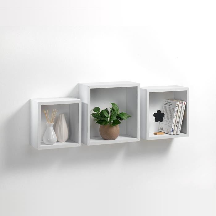 kit 3 tag res cubes gigognes blanc achat vente. Black Bedroom Furniture Sets. Home Design Ideas
