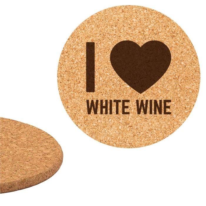DESSOUS DE PLAT  Dessous de plat en liège 18cm gravé I love White w