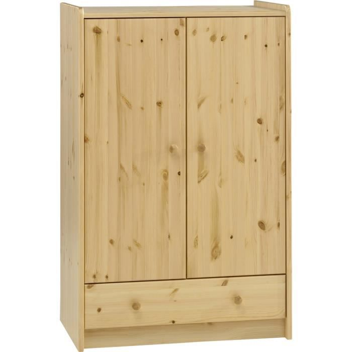 armoire enfant en pin massif naturel dim 79 x 54 x 124. Black Bedroom Furniture Sets. Home Design Ideas