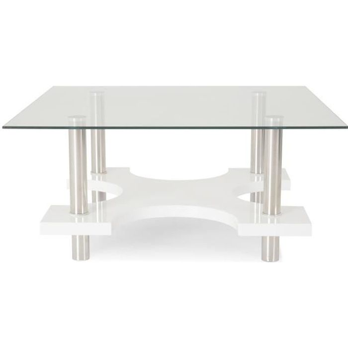 Barnabe Table Basse Carree Plateau Verre Trempe Blanc Achat