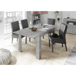 TABLE À MANGER SEULE Table à manger 140 cm gris béton + rallonge 50 cm