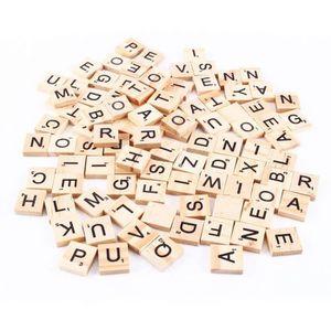 JEU SOCIÉTÉ - PLATEAU Lettre Scrabble en Bois Puzzle Alphabet Lot de 100