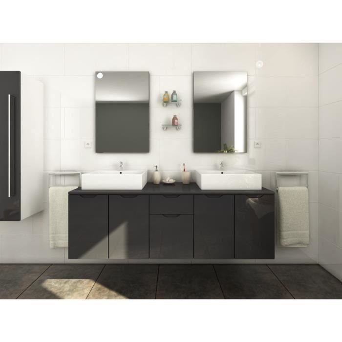 lisa salle de bain compl te double vasque l 150 cm gris laqu achat vente salle de bain. Black Bedroom Furniture Sets. Home Design Ideas