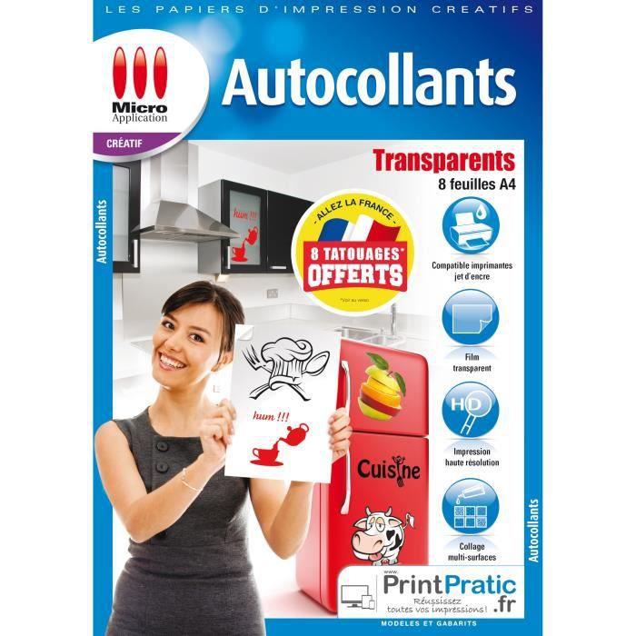 Pack 8 feuilles autocollantes transparentes Micro Application MA-5091