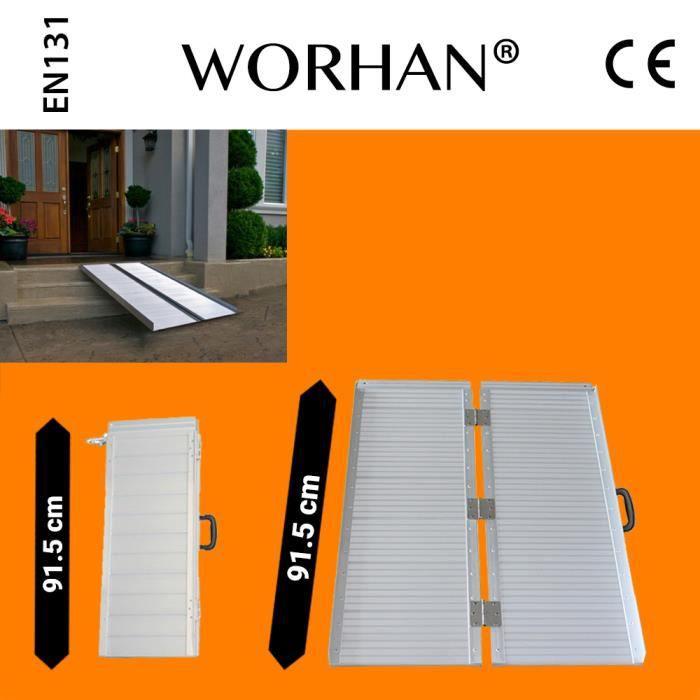 WORHAN® 91.5cm Rampe Alu Pliable Valise Aluminium Pour Fauteuil Roulant Chargement Scooter Plate-Forme Aluminium Anodisé R3