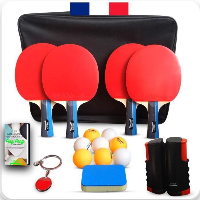 Raquette de ping pong, 4 raquettes de tennis de table professionnel, filet rétractable, 8 balles et sacoche de rangement