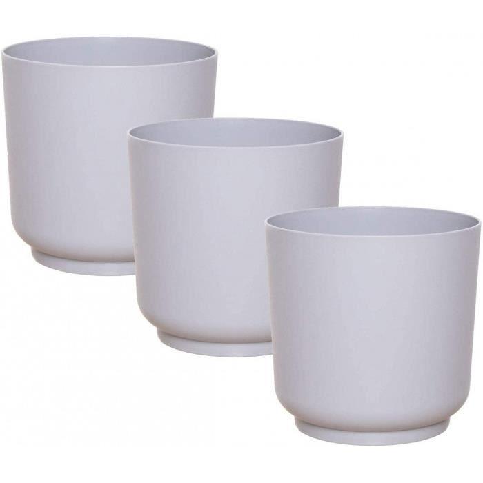 Rond, Petit, Pots De Fleurs, Pot Plante, Jardiniere, Vase, Petite, Interieur, Exterieur, Incassable- Version: 15 Cm - 3 St. - Grau