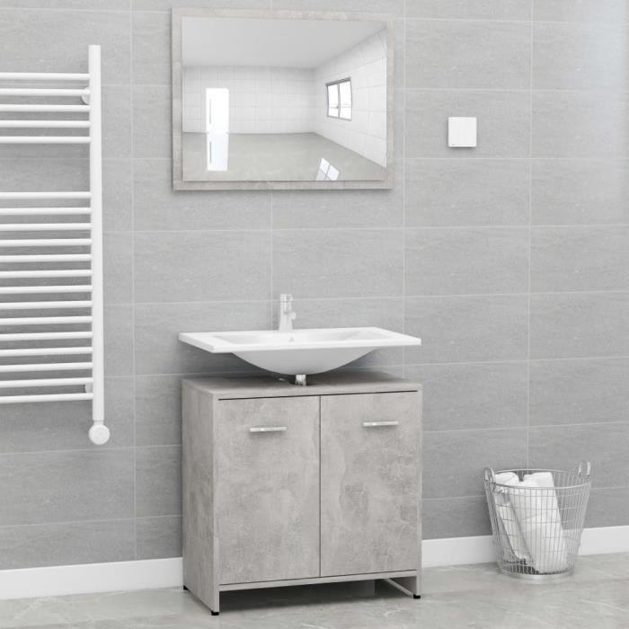 Ensemble de SALLE DE BAIN COMPLETE Ensemble de meubles de salle de bain Contemporain Gris béton Aggloméré#31133