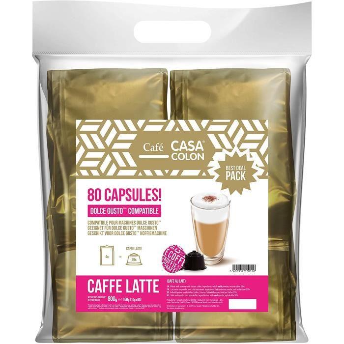 80 CAPSULES COMPATIBLES DOLCE GUSTO ® CASA COLON CAFFE LATTE
