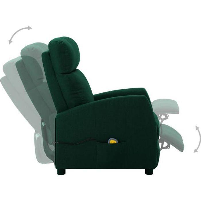 Fauteuil de massage électrique, fauteuil relax inclinable Vert foncé Tissu
