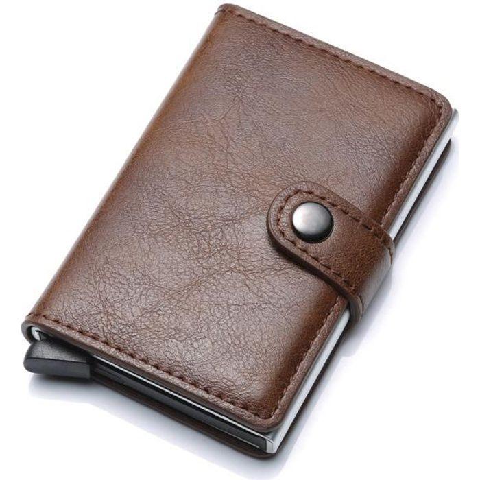 MARRON Porte Carte Anti RFID Blocage Anti Vol Porte-carte de Crédit pour Adulte Mixte Femme Homme