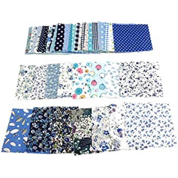 Kit de couture 50 pièces 10 x 10 cm Tissu en coton patchwork floral uni pour couture, matelassage, fournitures de couture pour les d
