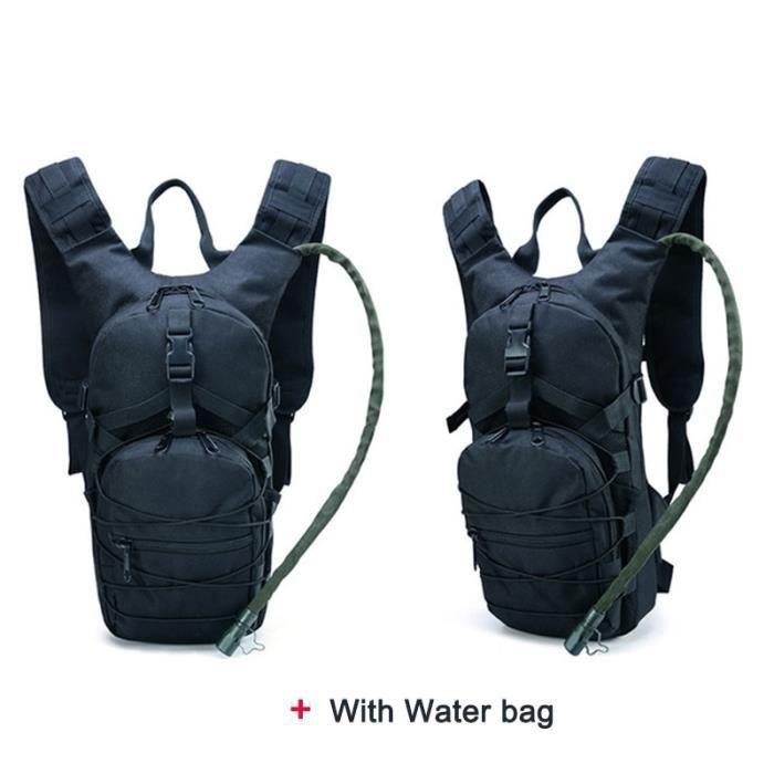 couleur noire -Sac à dos tactique léger, sac à eau de survie chameau, sac à dos de randonnée hydratation, pochette militaire, sac à
