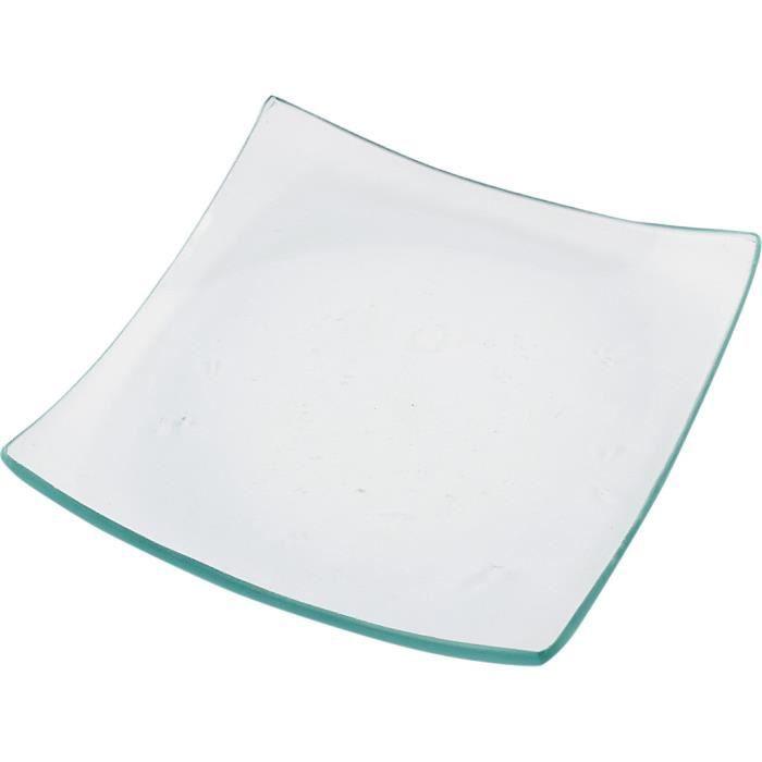 Assiettes carrée en verre transparent à bords arrondis. réf 55775