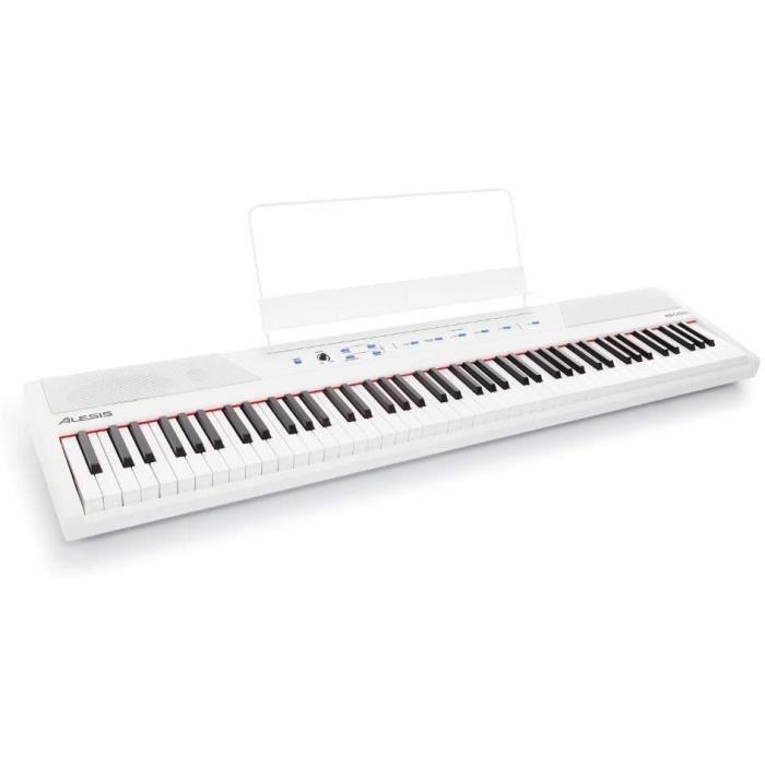 Alesis Recital White - Piano Numérique de Couleur Blanche avec Un Clavier de 88 Touches Semi-lestées de Taille Authentique, Adaptate
