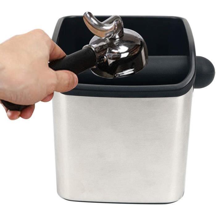 boîte pour le marc de café,knock box,boîte à café en inox bac marc a cafe,poubelle de table à café,avec contour en caoutchouc 56