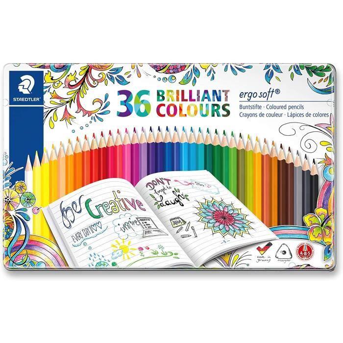 Staedtler 157 M36JB ST Ergosoft Set de 36 Crayons de couleur avec système anti-casse pour coloriage enfant/adulte mine douce 3 mm Co