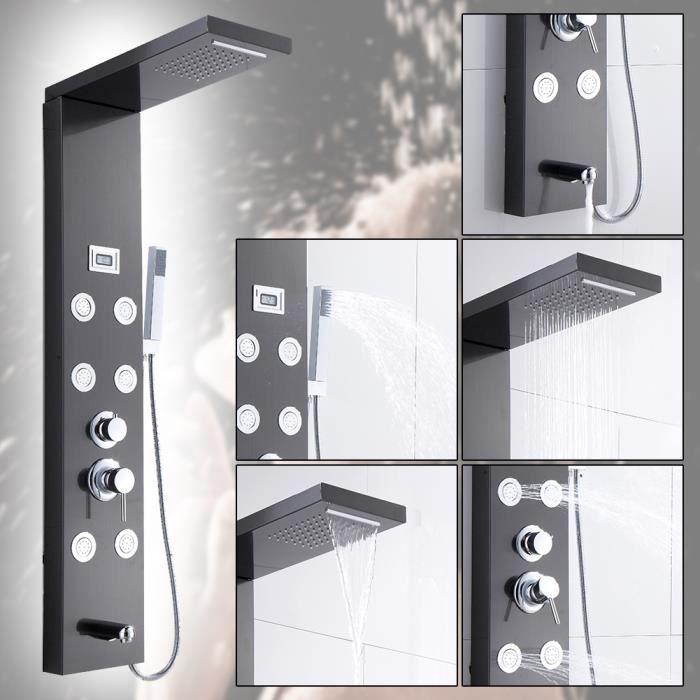 Colonne Douche Hydromassante avec Écran LCD et Lumières LED Panneau de Douche avec l'affichage de température MILLIONTEK