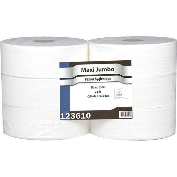 Papier Hygiénique Maxi Jumbo - Pure Ouate Blanche 2x17g/m² - Pack De 6 Rouleaux - T320 Mètres - Dimension 8,8x12,5cm - Af40402 - Fab