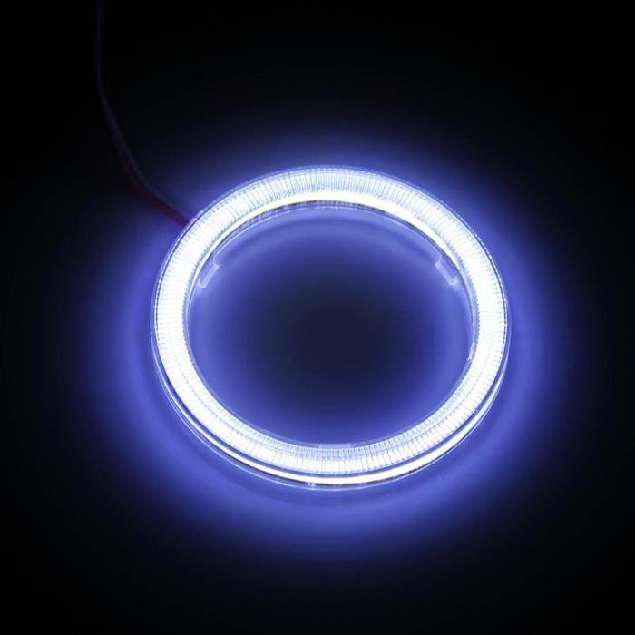 Cuque Phare à puces COB 1 paire Auto Halo Anneaux Angel Eye COB Chips Phare DRL LED Pour Moto Voiture 80mm
