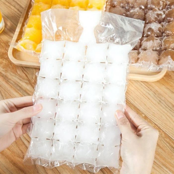 Rafraichisseur vin,Sacs à glaçons jetables 100 pièces, moules à glace auto étanches de qualité alimentaire, pour la fabrication de