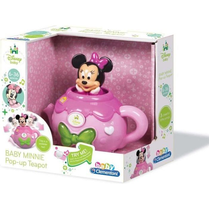 Clementoni Disney Minnie Mouse bébé Minnie Pop Up Singing Teapot (parlant anglais)