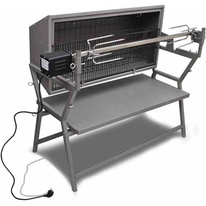 Homgeek Rôtissoire en fer et en acier inoxydable 132 x 55 x 98 cm