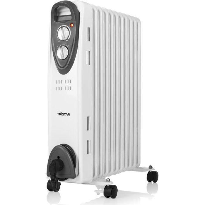 TRISTAR 2000 watts Radiateur bain d'huile - 3 puissances - Thermostat réglable