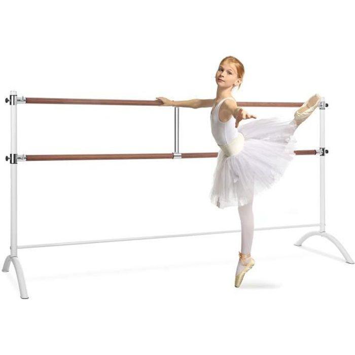 Klarfit Barre Marie Double barre de danse classique réglable en hauteur - 220 x 113cm - Ø 2x 38mm - Montage facile - Acier blanc