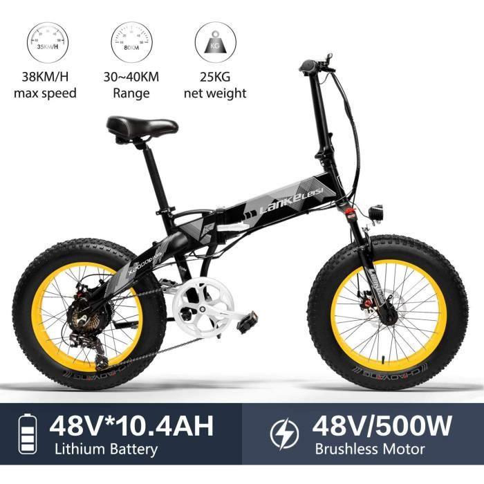 LANKELEISI X2000Plus Vélo électrique Pliable Gros Pneu VTT 500 W 48 V Tout Terrain Trois Modes de Conduite 7 Vitesses