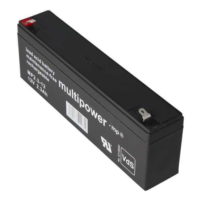 Batterie rechargeable au plomb Multipower MP2.2-12, connecteur MP2.2-12 Faston de 4,8 mm