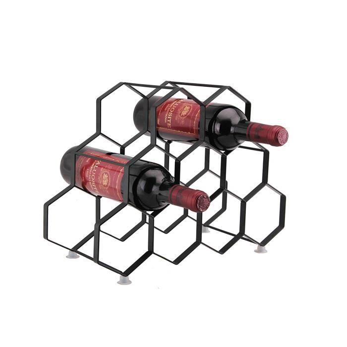 9 Porte-bouteille porte-bouteille - Porte-bouteille sur pied libre - Design contemporain unique Aucun assortiment requis