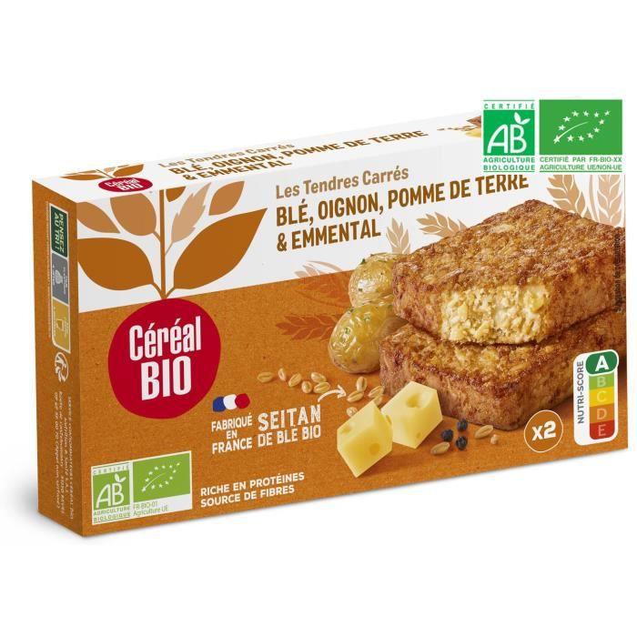 CEREAL BIO Tendres carrés végétarienne à base de blé et de fromage Emmental Bio - 200 g