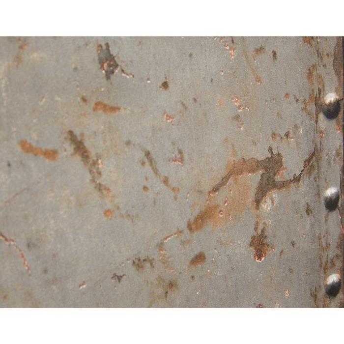 Papier peint plaque en métal gris rouille (Rouleau:10m)