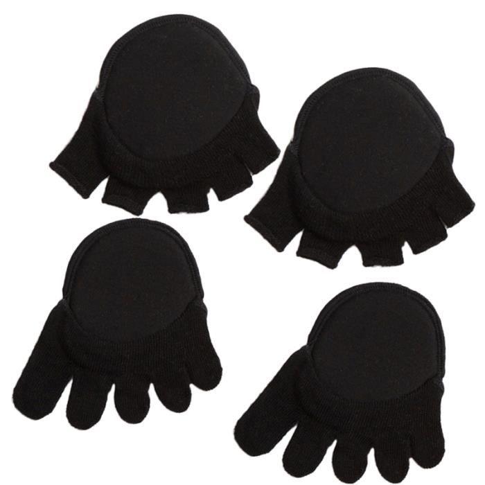 2 paires de chaussettes d'avant-pied confortables sans doigts invisibles cinq demi-orteils coussinets pour filles à talons hauts