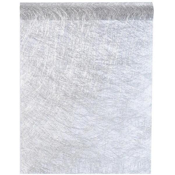 Chemin de table élégant brillant argent métallique 30cm x 25m (x1) R/4755