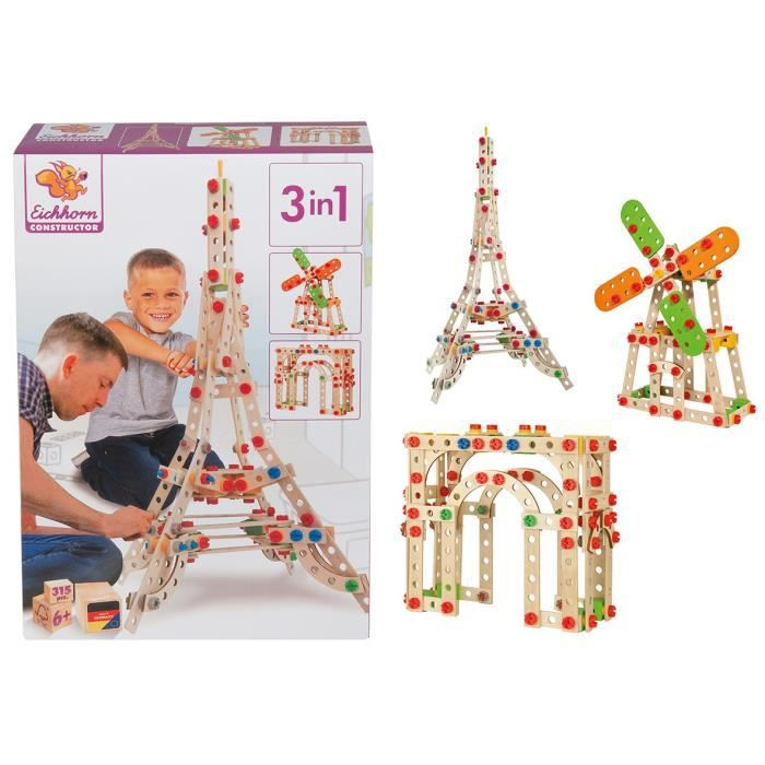 EICHHORN Jeu Construction Bois - Tour Eiffel 3 en 1 - 315 Pièces