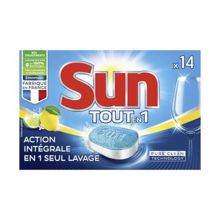 LOT DE 10 - SUN - Tablettes Lave-Vaisselle - Classic - Citron - 1 mois de lavage - 14 tablettes