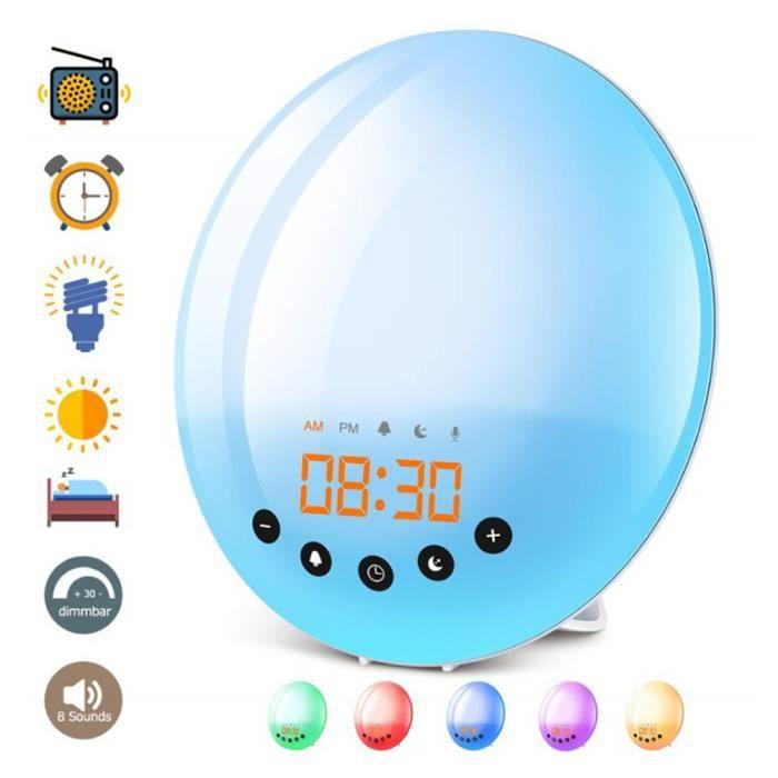 SURENHAP LED lever du soleil réveil numérique intelligent réveil lumière colorée changeante atmosphère veilleuse 1112566