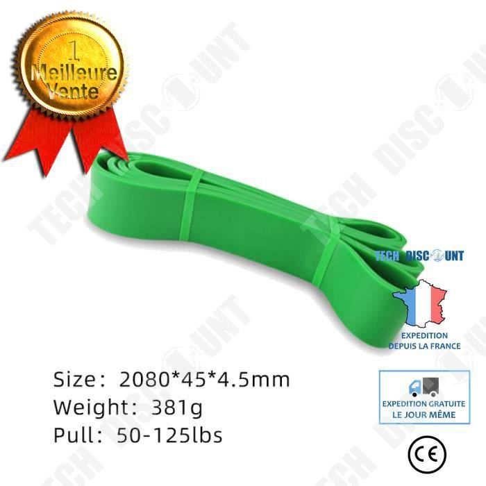 TD® Accessoires Fitness - Musculation, niveaux de résistance bandes de boucle élastique élastique chaîne de caoutchouc - Type green