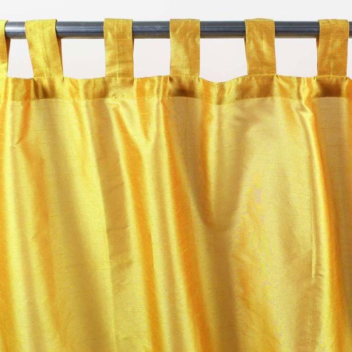 Rideau à pattes SOLENE (140x250cm) Jaune • Soie polyester