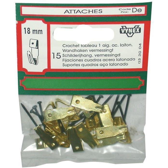Crochet tableau - acier laitonné - 18-21-30 mm