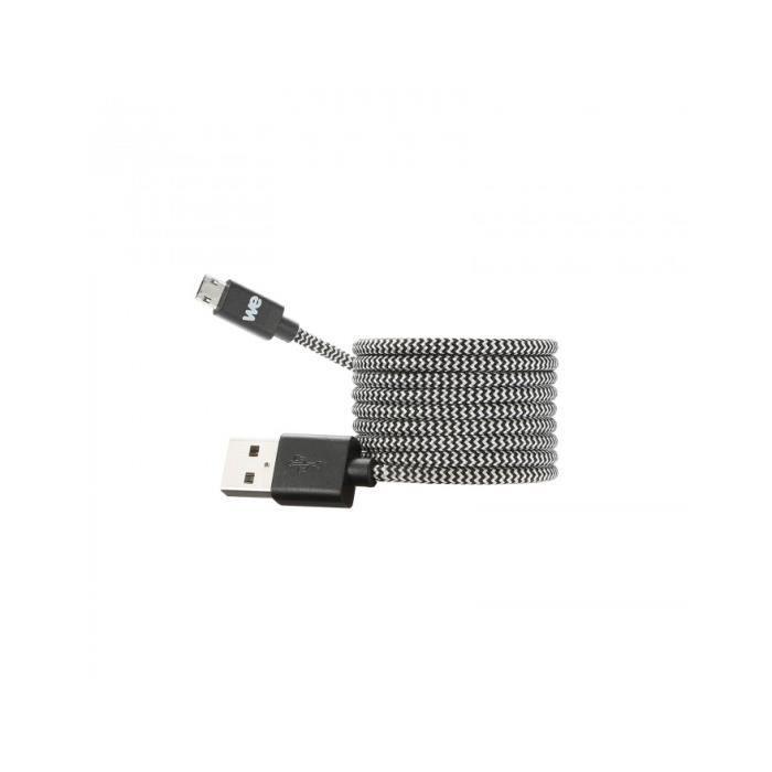 Câble USB/Micro USB Nylon 1m Noir/Blanc
