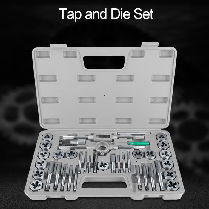 40Pcs M3-M12 Écrou à visser et filière avec clés et outil à main Jeu de tarage et de filières taraud outil de taraudage