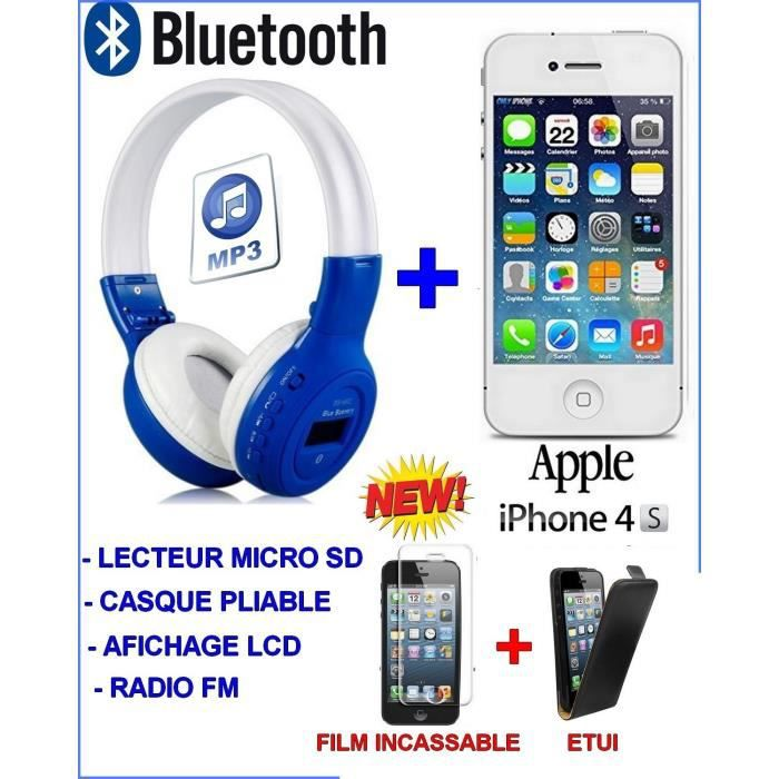 new new new iphone 4s blanc debloque casque bluetooth. Black Bedroom Furniture Sets. Home Design Ideas