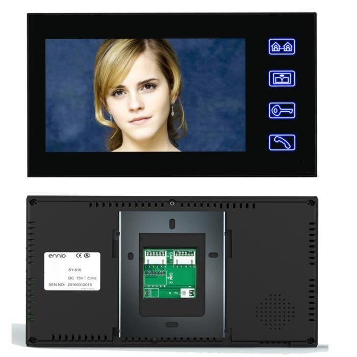 moniteur Interphone vid/éo HD 7 Interphone vid/éo HD 7 Intercom avec sonnette de porte pour t/él/éphone et appareil photo avec 2 appareils int/érieurs
