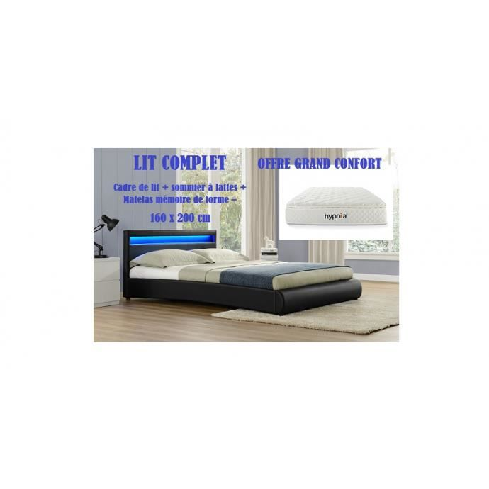 lit complet pu noir led 160x200 matelas achat vente lit complet lit complet matelas sommier. Black Bedroom Furniture Sets. Home Design Ideas