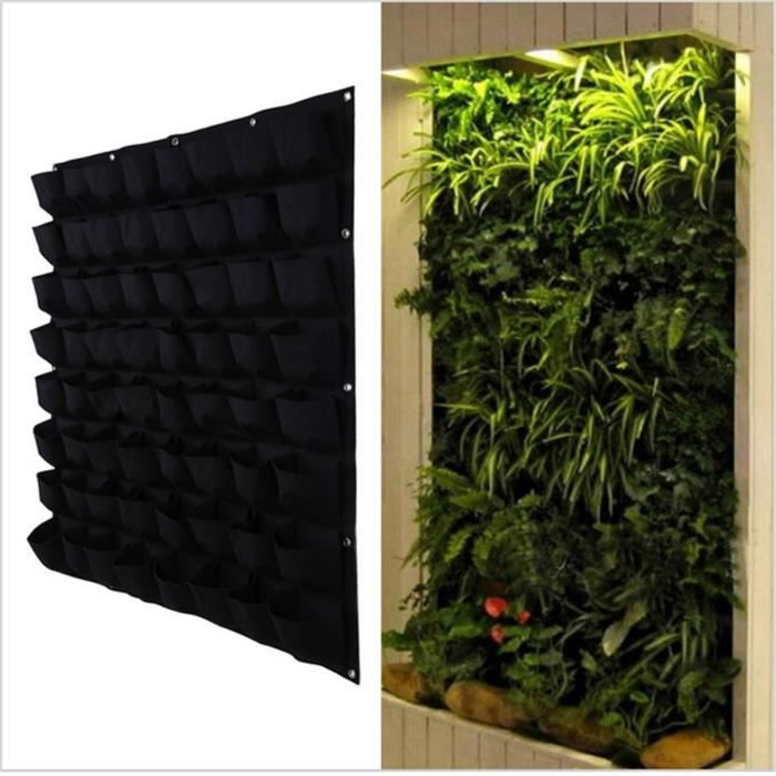 64 sac de plantation noir v g tal mural suspendu fleur for Mur vegetal suspendu