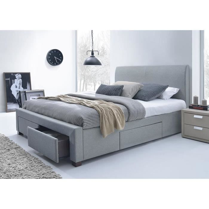lit tissu gris avec t te de lit seattle 160 x 200 achat. Black Bedroom Furniture Sets. Home Design Ideas